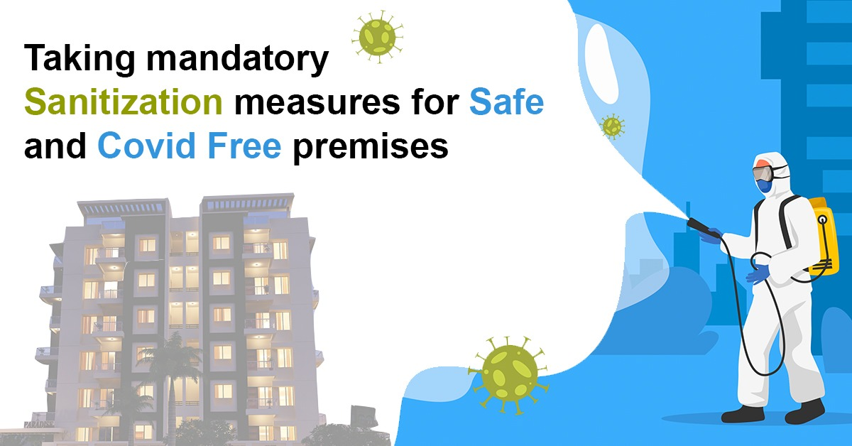 Taking mandatory sanitization measures for safe and COVID-19 free premises.